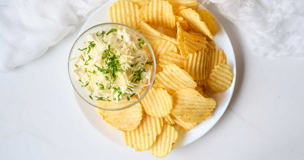 garlic parm chip dip.