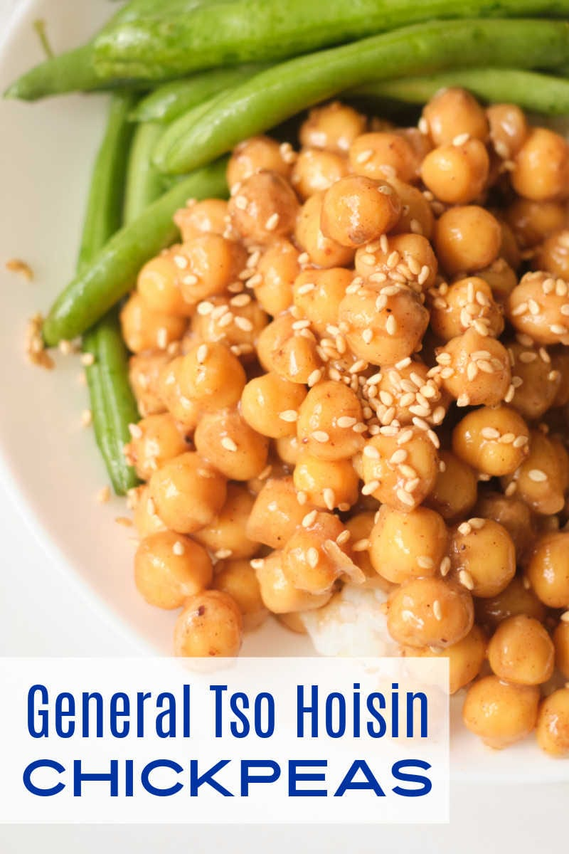 For a quick and easy vegan dinner make General Tso hoisin chickpeas, so you can serve them with rice and your favorite vegetable.