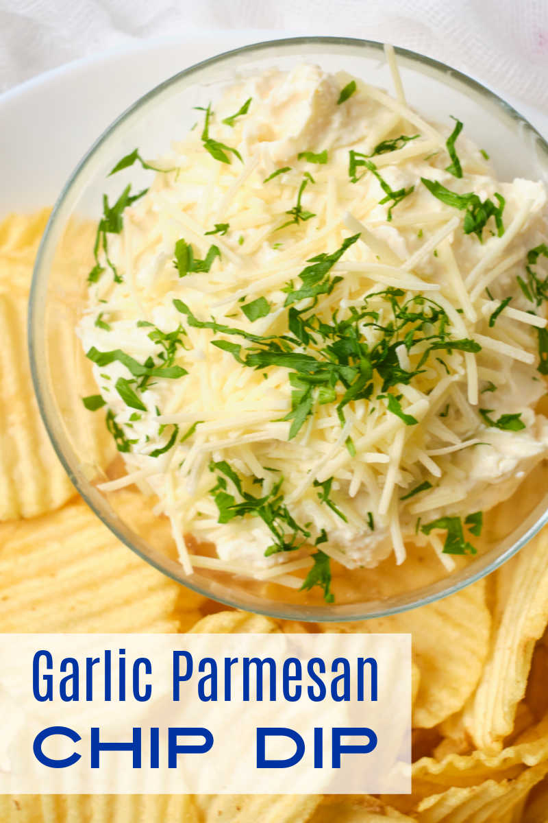 Enjoy this delicious garlic parmesan chip dip, when you are having a party, watching a movie with your family or just because.