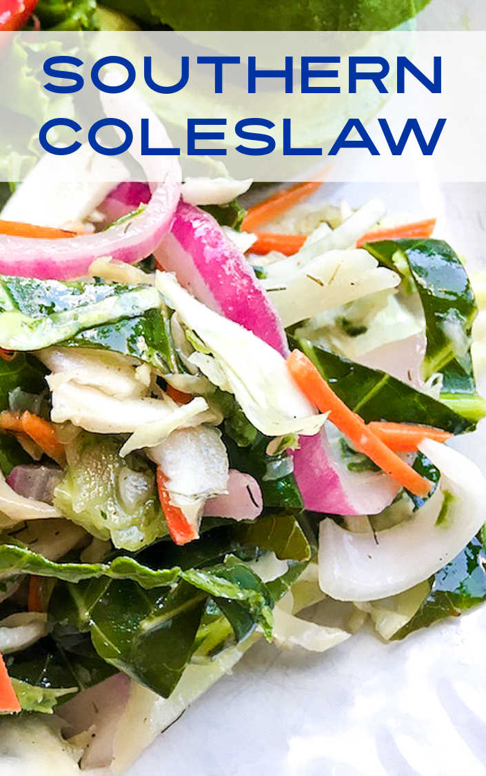 Make this delicious no mayo southern coleslaw, when you want a crunchy Summer salad or a topping for a burger or sandwich.