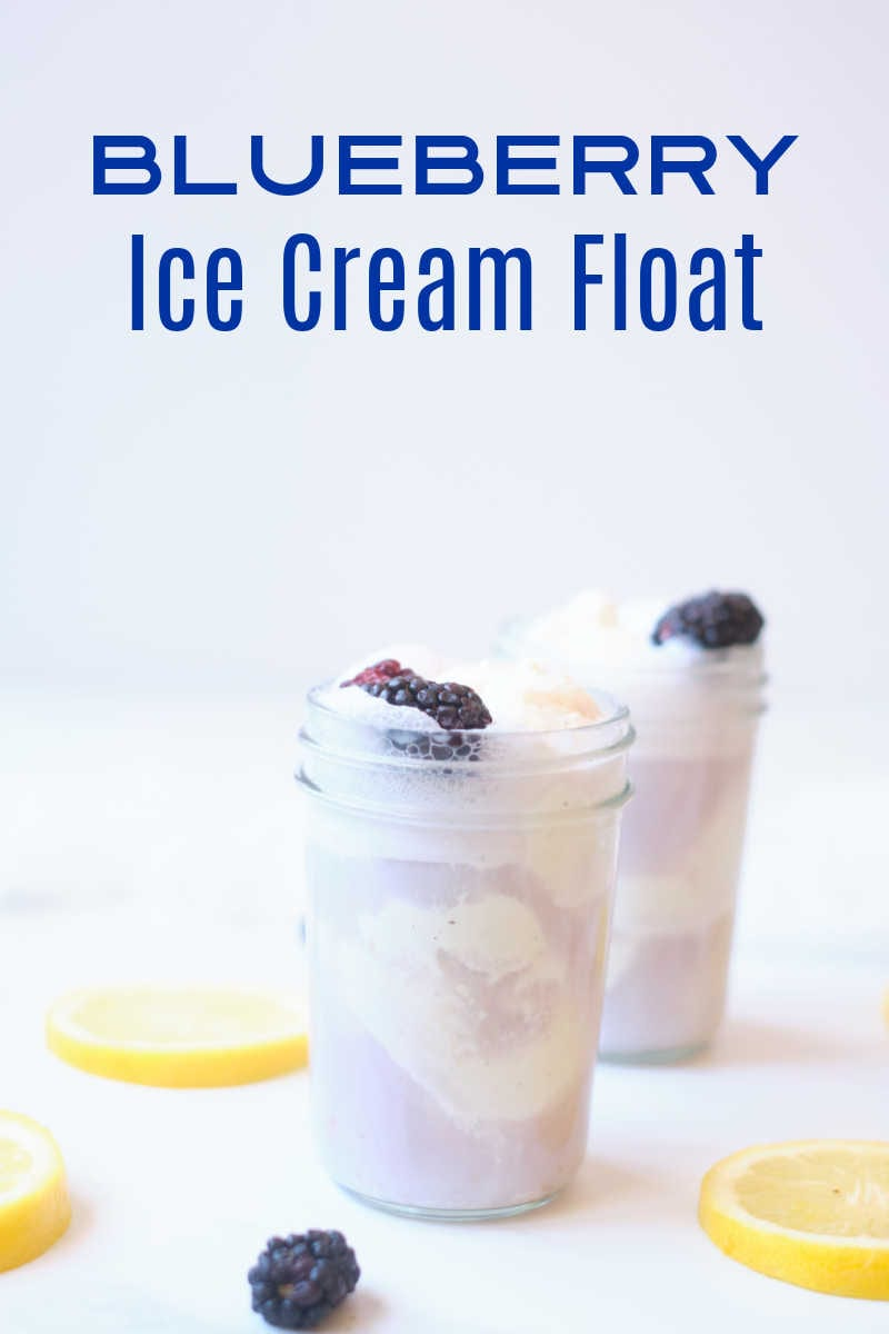 A blueberry ice cream float garnished with fresh berries and lemon zest is a wonderful treat, when you want a unique and easy dessert.