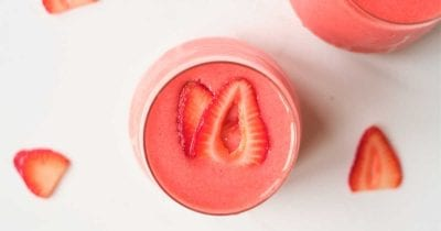 mango strawberry vegan sorbet shake.