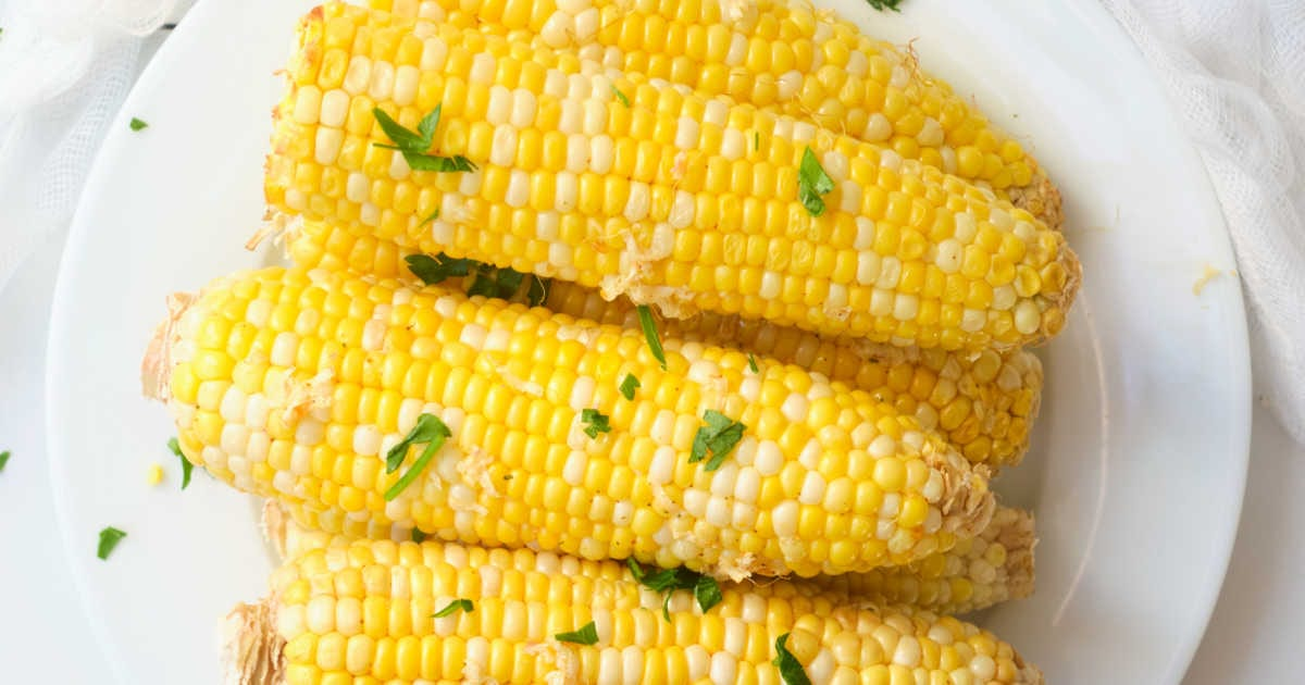plate of air fryer corn on the cob