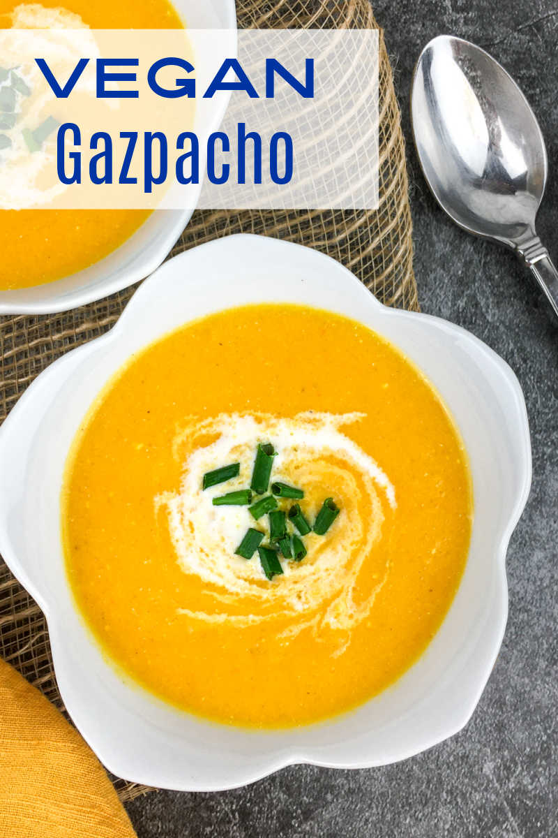 Enjoy a bowl of creamy vegan yellow tomato gazpacho, when you want a refreshing garden fresh comfort food meal.