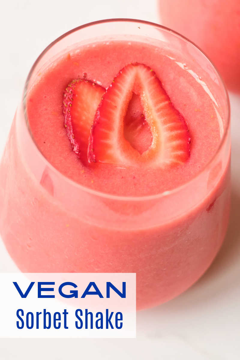When the weather is warm, this pretty strawberry mango vegan sorbet shake is a delicious way to cool down without dairy.