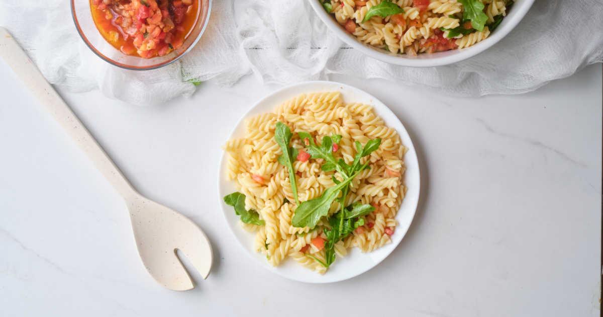 pasta salad flat lay