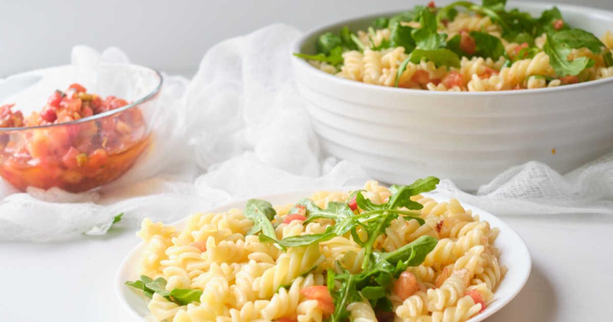 plated pasta salad