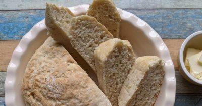 bread recipe baked in a pie dish