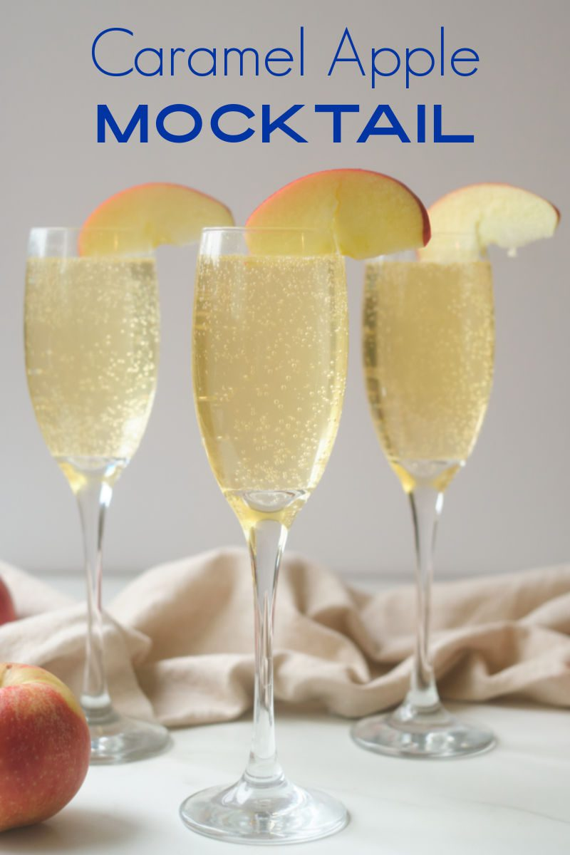 Sparkling drinks are fun! Learn how to make an easy non-alcoholic sparkling caramel apple mocktail that's perfect for kids and adults. Caramel sauce, apple juice and bubbles are the stars of this party drink.